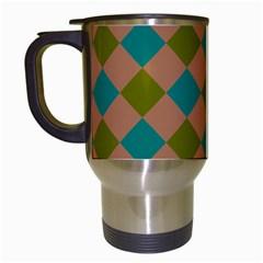 Plaid Box Brown Blue Travel Mugs (White)