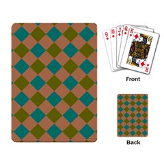 Plaid Box Brown Blue Playing Card