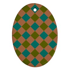Plaid Box Brown Blue Oval Ornament (Two Sides)