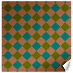 Plaid Box Brown Blue Canvas 16  x 16