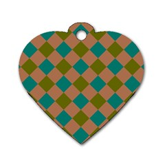 Plaid Box Brown Blue Dog Tag Heart (One Side)