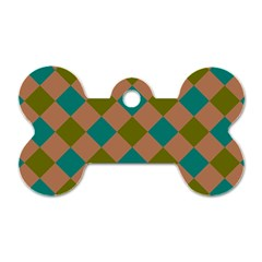 Plaid Box Brown Blue Dog Tag Bone (One Side)