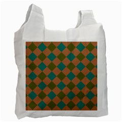 Plaid Box Brown Blue Recycle Bag (One Side)