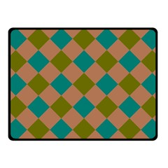 Plaid Box Brown Blue Fleece Blanket (Small)