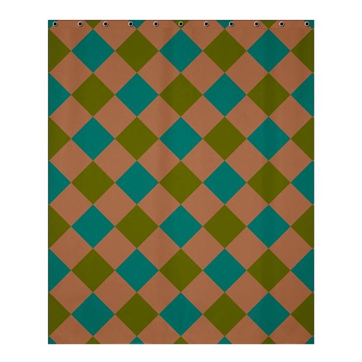 Plaid Box Brown Blue Shower Curtain 60  x 72  (Medium)