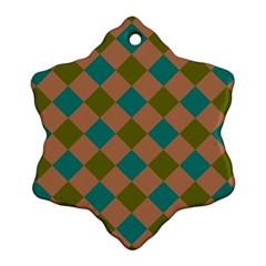 Plaid Box Brown Blue Snowflake Ornament (2-Side)