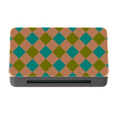 Plaid Box Brown Blue Memory Card Reader with CF