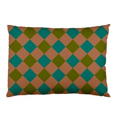 Plaid Box Brown Blue Pillow Case (Two Sides)