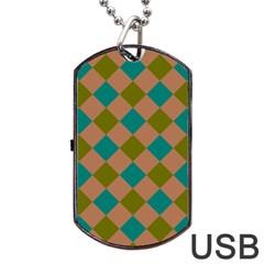 Plaid Box Brown Blue Dog Tag USB Flash (One Side)
