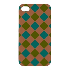 Plaid Box Brown Blue Apple iPhone 4/4S Premium Hardshell Case