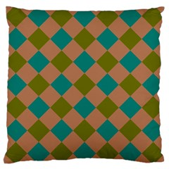 Plaid Box Brown Blue Large Cushion Case (One Side)