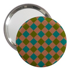 Plaid Box Brown Blue 3  Handbag Mirrors