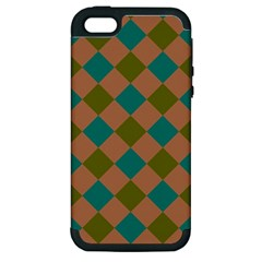 Plaid Box Brown Blue Apple iPhone 5 Hardshell Case (PC+Silicone)