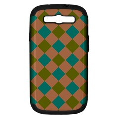 Plaid Box Brown Blue Samsung Galaxy S III Hardshell Case (PC+Silicone)