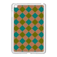 Plaid Box Brown Blue Apple iPad Mini Case (White)