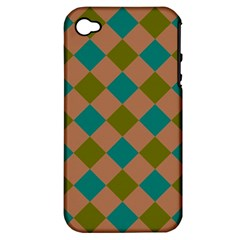 Plaid Box Brown Blue Apple iPhone 4/4S Hardshell Case (PC+Silicone)