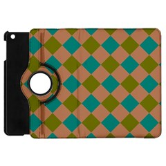 Plaid Box Brown Blue Apple iPad Mini Flip 360 Case