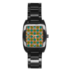 Plaid Box Brown Blue Stainless Steel Barrel Watch