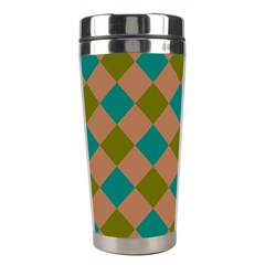 Plaid Box Brown Blue Stainless Steel Travel Tumblers