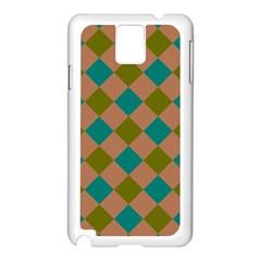 Plaid Box Brown Blue Samsung Galaxy Note 3 N9005 Case (White)