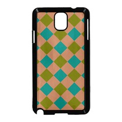 Plaid Box Brown Blue Samsung Galaxy Note 3 Neo Hardshell Case (Black)