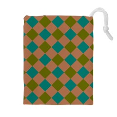 Plaid Box Brown Blue Drawstring Pouches (Extra Large)