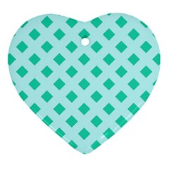 Plaid Blue Box Ornament (Heart)