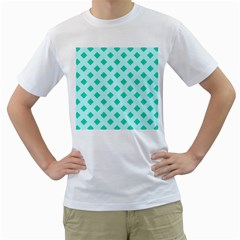 Plaid Blue Box Men s T-Shirt (White) (Two Sided)