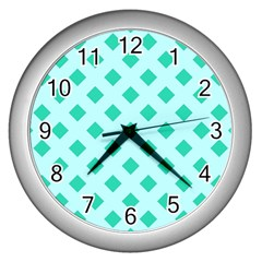 Plaid Blue Box Wall Clocks (Silver)