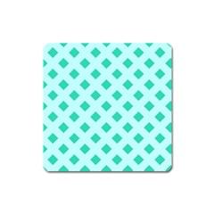 Plaid Blue Box Square Magnet