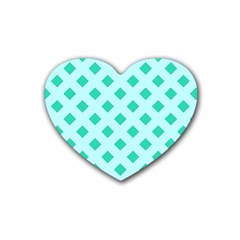 Plaid Blue Box Heart Coaster (4 pack)