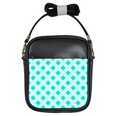 Plaid Blue Box Girls Sling Bags