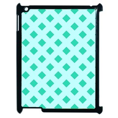 Plaid Blue Box Apple iPad 2 Case (Black)