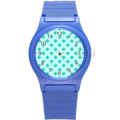 Plaid Blue Box Round Plastic Sport Watch (S)