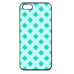 Plaid Blue Box Apple iPhone 5 Seamless Case (Black)