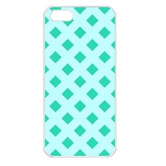 Plaid Blue Box Apple iPhone 5 Seamless Case (White)