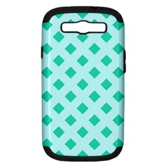 Plaid Blue Box Samsung Galaxy S III Hardshell Case (PC+Silicone)