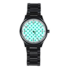 Plaid Blue Box Stainless Steel Round Watch