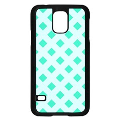 Plaid Blue Box Samsung Galaxy S5 Case (Black)