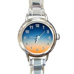 Rainbow Blue Orange Purple Round Italian Charm Watch