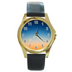 Rainbow Blue Orange Purple Round Gold Metal Watch
