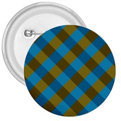 Plaid Line Brown Blue Box 3  Buttons