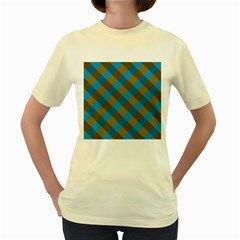 Plaid Line Brown Blue Box Women s Yellow T-Shirt