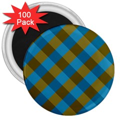 Plaid Line Brown Blue Box 3  Magnets (100 pack)