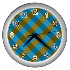 Plaid Line Brown Blue Box Wall Clocks (Silver)
