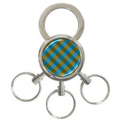 Plaid Line Brown Blue Box 3-Ring Key Chains