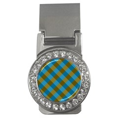 Plaid Line Brown Blue Box Money Clips (CZ)