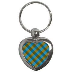 Plaid Line Brown Blue Box Key Chains (Heart)