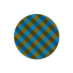 Plaid Line Brown Blue Box Rubber Round Coaster (4 pack)
