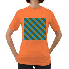 Plaid Line Brown Blue Box Women s Dark T-Shirt